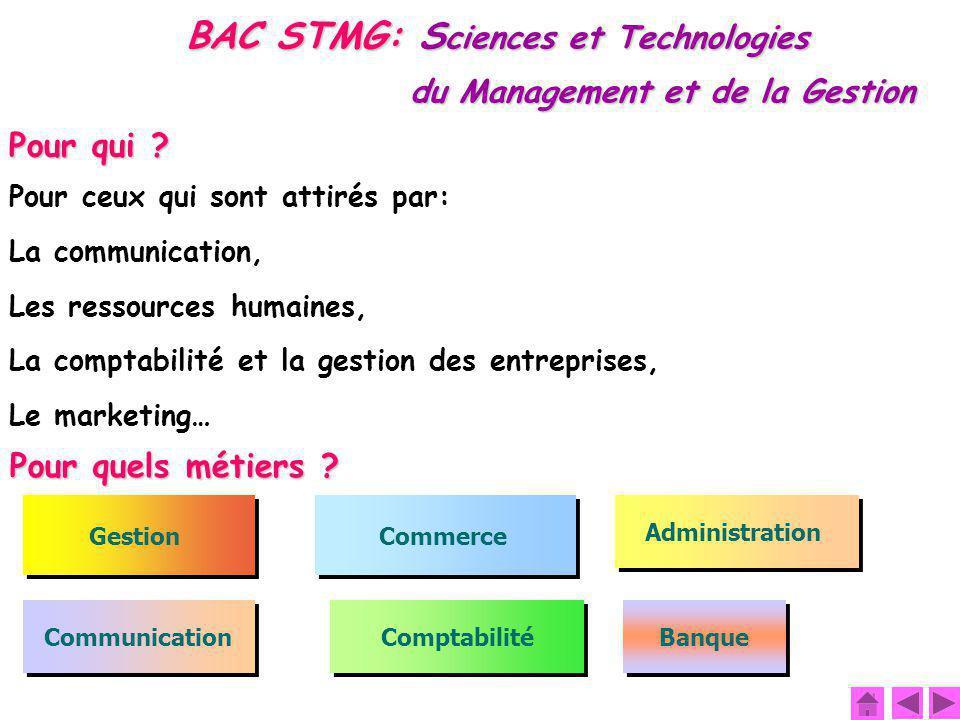 BAC STMG: S ciences et Technologies du Management et de la Gestion Gestion Administration Commerce Comptabilité Communication Banque Pour qui ? Pour c