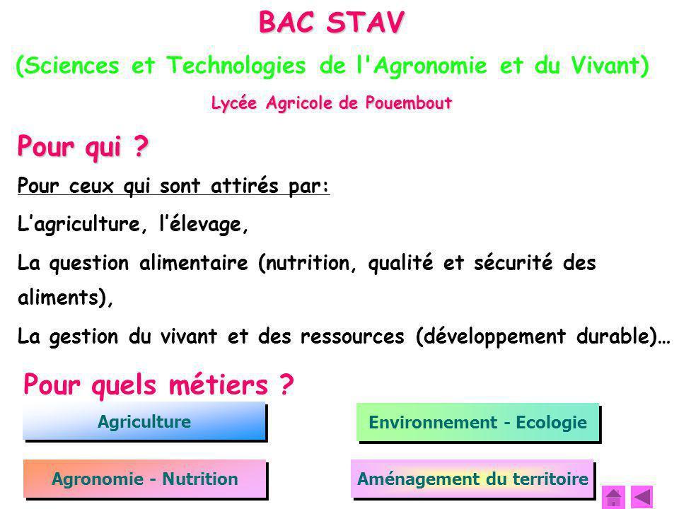 BAC STAV (Sciences et Technologies de l'Agronomie et du Vivant)  Lycée Agricole de Pouembout Pour qui ? Pour ceux qui sont attirés par: L'agriculture