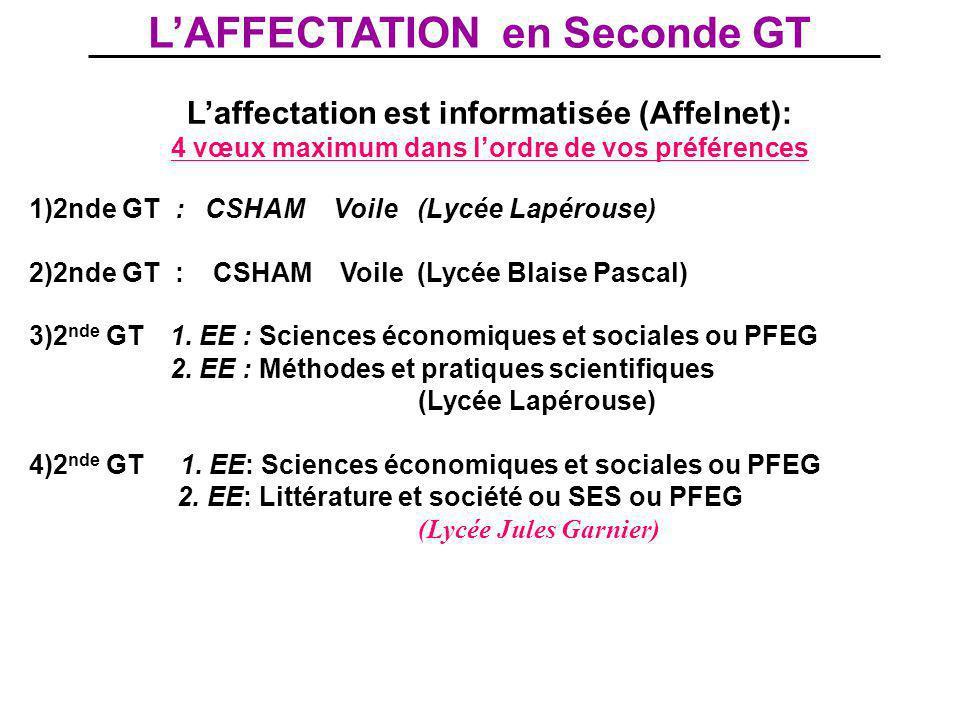 L'AFFECTATION en Seconde GT L'affectation est informatisée (Affelnet): 4 vœux maximum dans l'ordre de vos préférences 1)2nde GT : CSHAM Voile (Lycée L