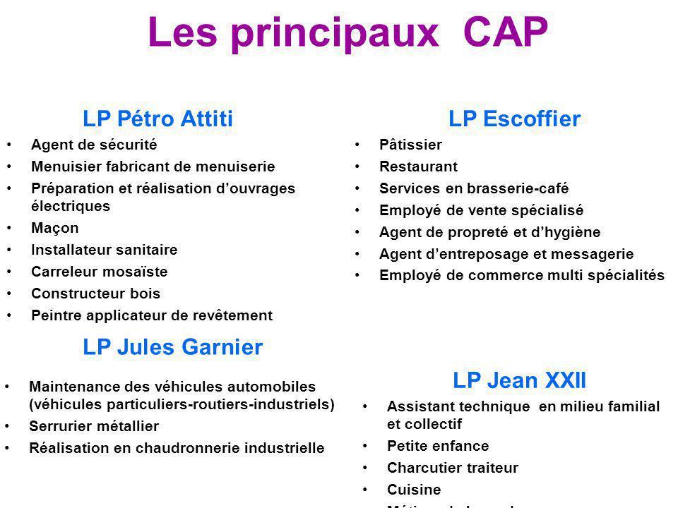 Les principaux CAP LP Pétro Attiti Agent de sécurité Menuisier fabricant de menuiserie Préparation et réalisation d'ouvrages électriques Maçon Install