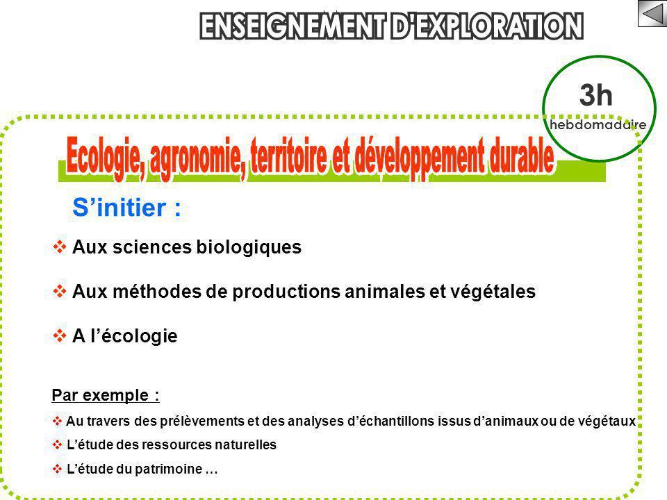 3h hebdomadaire S'initier :  Aux sciences biologiques  Aux méthodes de productions animales et végétales  A l'écologie Par exemple :  Au travers d