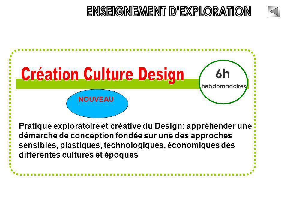 6h hebdomadaires Pratique exploratoire et créative du Design: appréhender une démarche de conception fondée sur une des approches sensibles, plastique