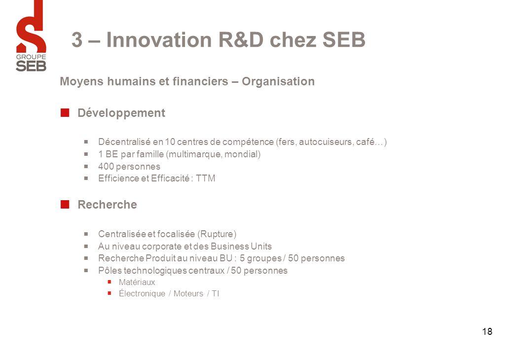 18 3 – Innovation R&D chez SEB Moyens humains et financiers – Organisation Développement  Décentralisé en 10 centres de compétence (fers, autocuiseur