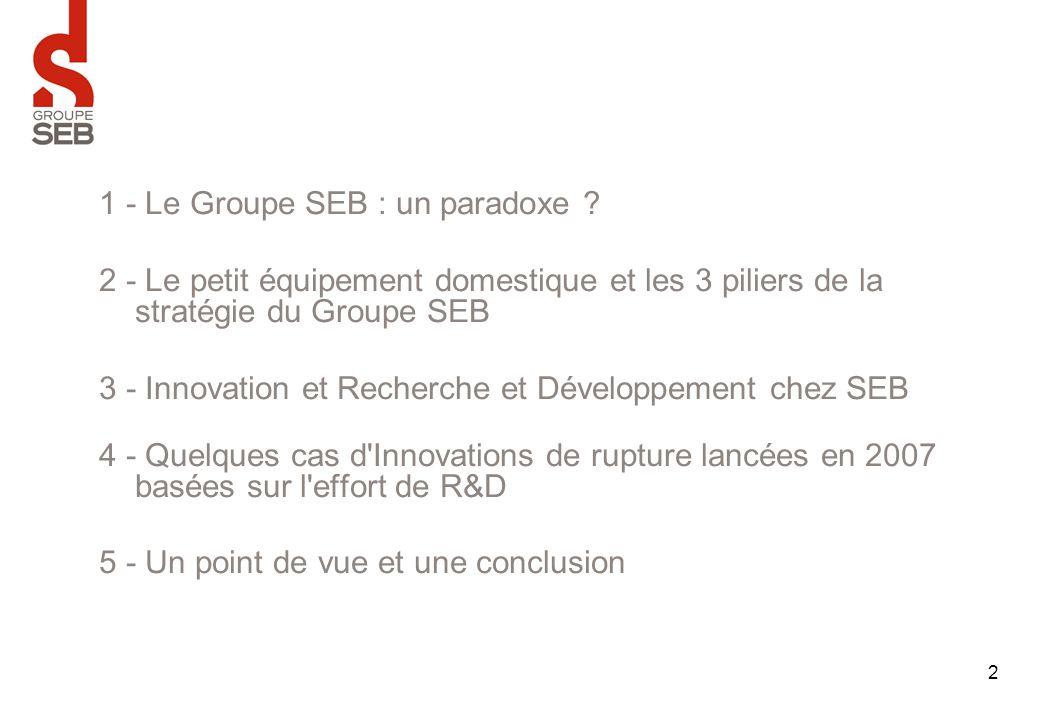 2 1 - Le Groupe SEB : un paradoxe ? 2 - Le petit équipement domestique et les 3 piliers de la stratégie du Groupe SEB 3 - Innovation et Recherche et D