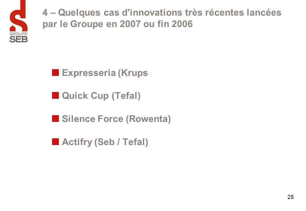 25 4 – Quelques cas d'innovations très récentes lancées par le Groupe en 2007 ou fin 2006 Expresseria (Krups Quick Cup (Tefal) Silence Force (Rowenta)