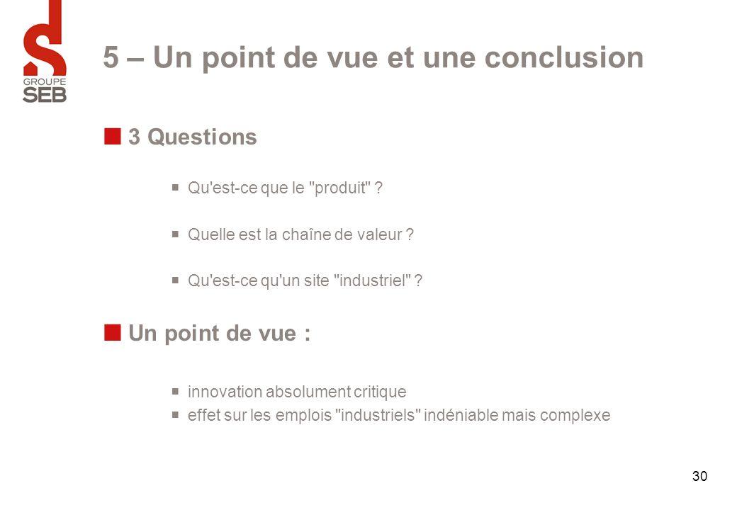 30 5 – Un point de vue et une conclusion 3 Questions  Qu'est-ce que le