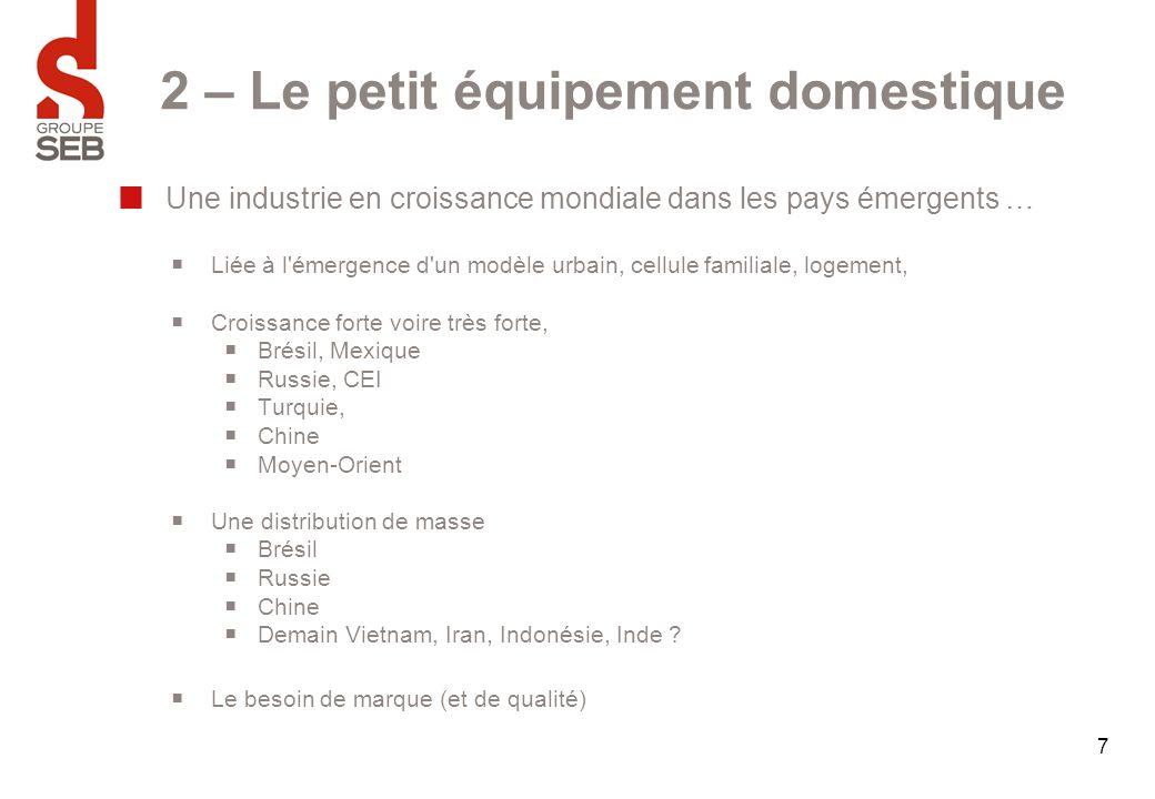 7 2 – Le petit équipement domestique Une industrie en croissance mondiale dans les pays émergents …  Liée à l'émergence d'un modèle urbain, cellule f