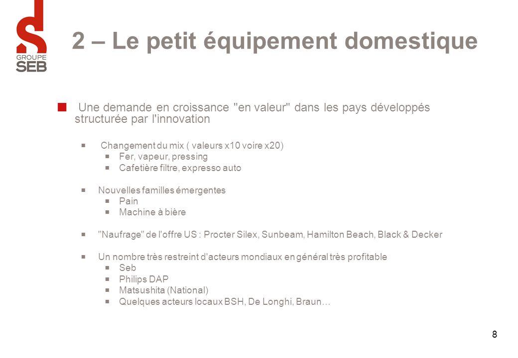 9 2 – Les 3 piliers de la stratégie du Groupe SEB Adapter à la mondialisation le modèle Français des années 60/70 en jouant sur 3 piliers  Une distribution efficace  Marques  Innovation