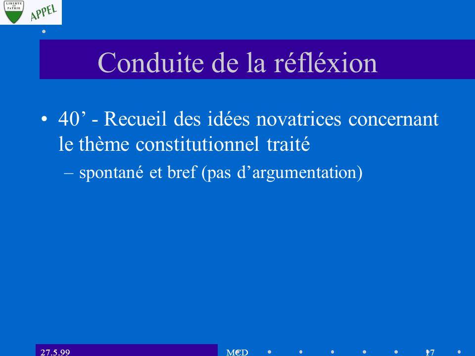 27.5.99MCD16 Conduite de la réfléxion 40' - Recueil sur des feuilles A1 (flip-charts) des perceptions des participants sur les avan- tages et inconvénients du point chaud.