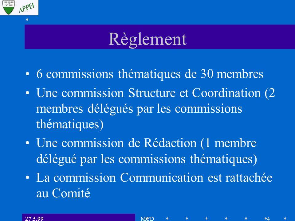 27.5.99MCD4 Règlement 6 commissions thématiques de 30 membres Une commission Structure et Coordination (2 membres délégués par les commissions thématiques) Une commission de Rédaction (1 membre délégué par les commissions thématiques) La commission Communication est rattachée au Comité