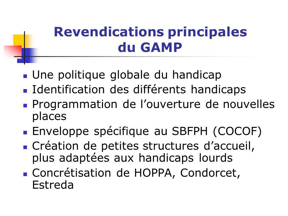 Revendications principales du GAMP Une politique globale du handicap Identification des différents handicaps Programmation de l'ouverture de nouvelles places Enveloppe spécifique au SBFPH (COCOF) Création de petites structures d'accueil, plus adaptées aux handicaps lourds Concrétisation de HOPPA, Condorcet, Estreda