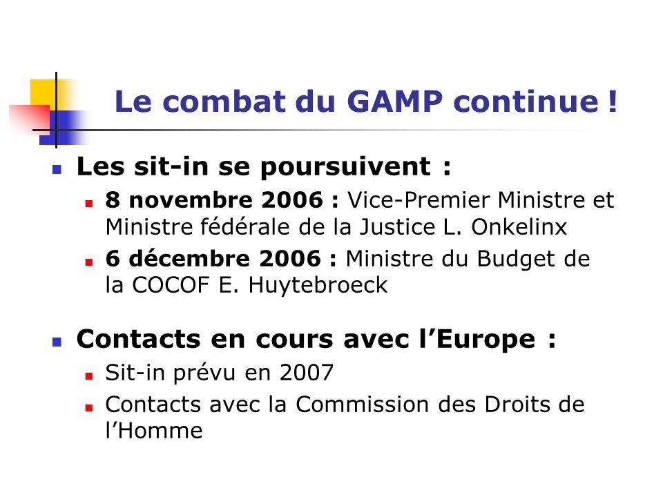 Le combat du GAMP continue ! Les sit-in se poursuivent : 8 novembre 2006 : Vice-Premier Ministre et Ministre fédérale de la Justice L. Onkelinx 6 déce