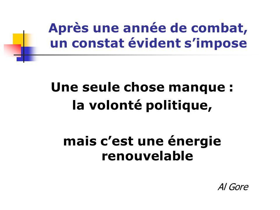 Après une année de combat, un constat évident s'impose Une seule chose manque : la volonté politique, mais c'est une énergie renouvelable Al Gore