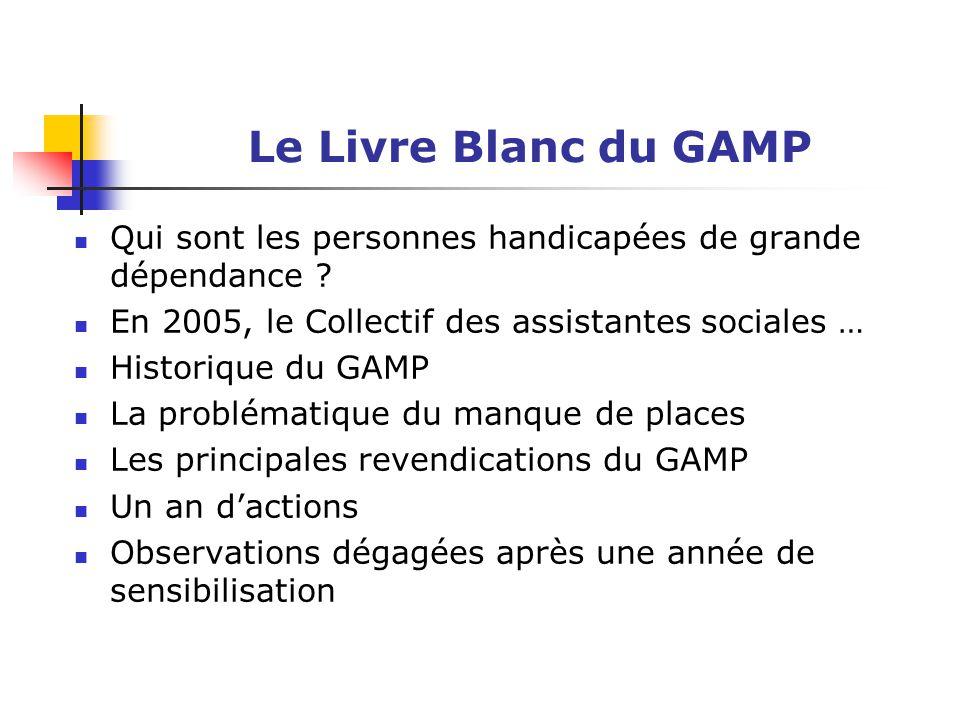 Le Livre Blanc du GAMP Qui sont les personnes handicapées de grande dépendance ? En 2005, le Collectif des assistantes sociales … Historique du GAMP L