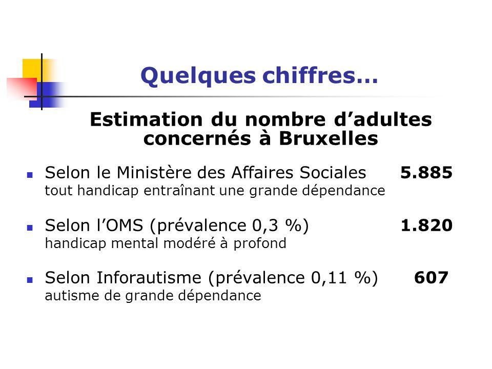 Quelques chiffres… Estimation du nombre d'adultes concernés à Bruxelles Selon le Ministère des Affaires Sociales 5.885 tout handicap entraînant une gr