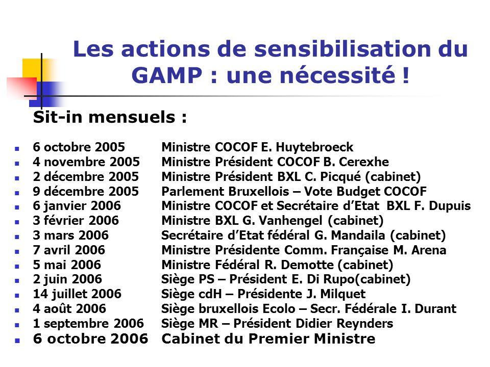 Les actions de sensibilisation du GAMP : une nécessité ! Sit-in mensuels : 6 octobre 2005 Ministre COCOF E. Huytebroeck 4 novembre 2005 Ministre Prési