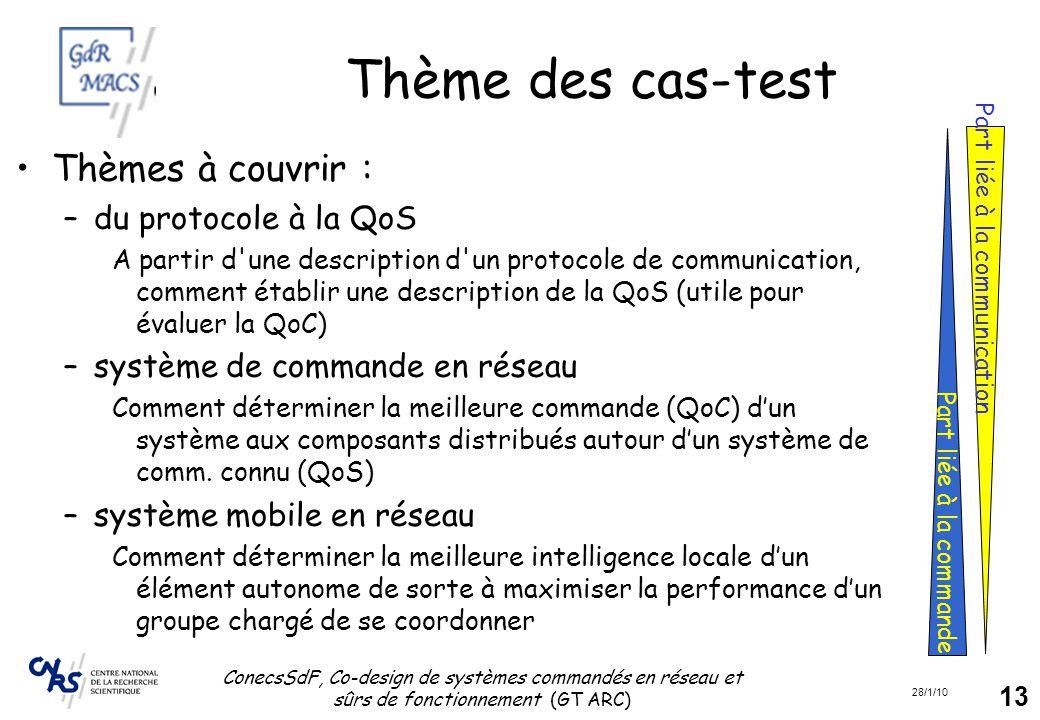 28/1/10 ConecsSdF, Co-design de systèmes commandés en réseau et sûrs de fonctionnement (GT ARC) 13 Thème des cas-test Thèmes à couvrir : –du protocole