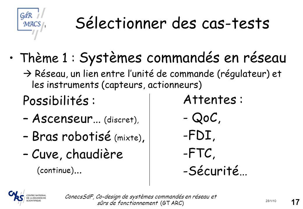 28/1/10 ConecsSdF, Co-design de systèmes commandés en réseau et sûrs de fonctionnement (GT ARC) 17 Sélectionner des cas-tests Thème 1 : Systèmes comma