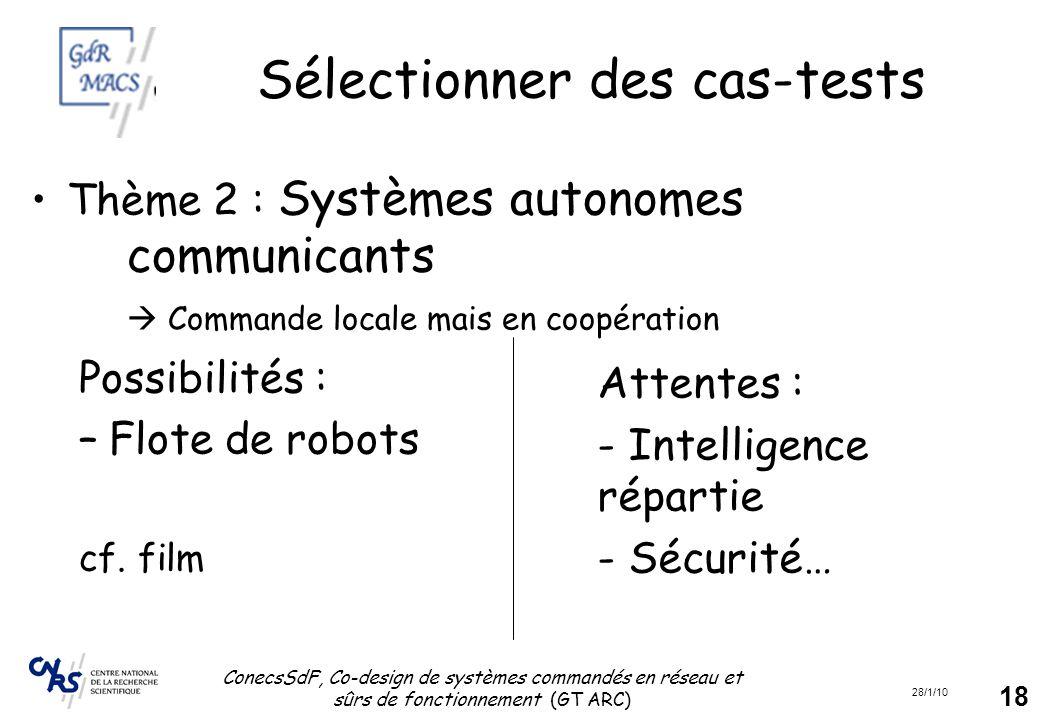 28/1/10 ConecsSdF, Co-design de systèmes commandés en réseau et sûrs de fonctionnement (GT ARC) 18 Sélectionner des cas-tests Thème 2 : Systèmes auton