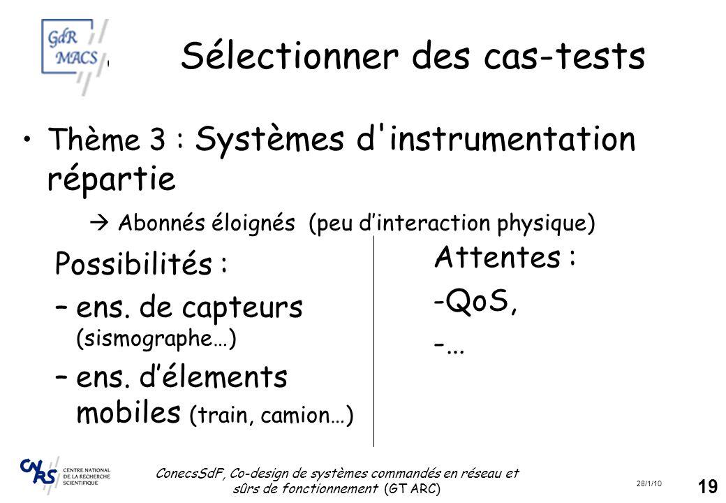 28/1/10 ConecsSdF, Co-design de systèmes commandés en réseau et sûrs de fonctionnement (GT ARC) 19 Sélectionner des cas-tests Thème 3 : Systèmes d'ins