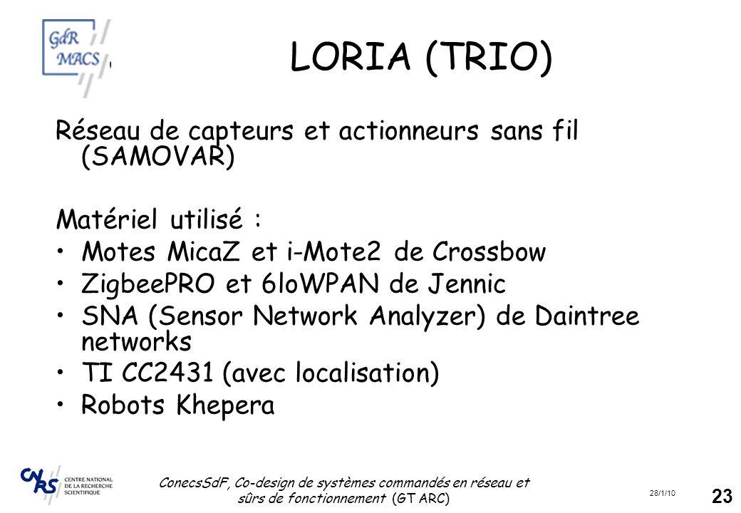 28/1/10 ConecsSdF, Co-design de systèmes commandés en réseau et sûrs de fonctionnement (GT ARC) 23 LORIA (TRIO) Réseau de capteurs et actionneurs sans