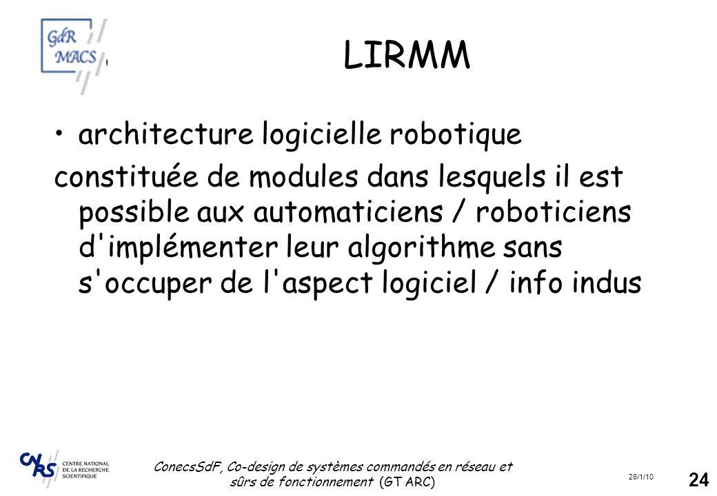 28/1/10 ConecsSdF, Co-design de systèmes commandés en réseau et sûrs de fonctionnement (GT ARC) 24 LIRMM architecture logicielle robotique constituée