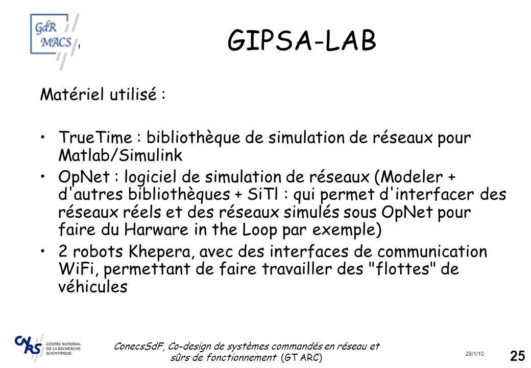 28/1/10 ConecsSdF, Co-design de systèmes commandés en réseau et sûrs de fonctionnement (GT ARC) 25 GIPSA-LAB Matériel utilisé : TrueTime : bibliothèqu
