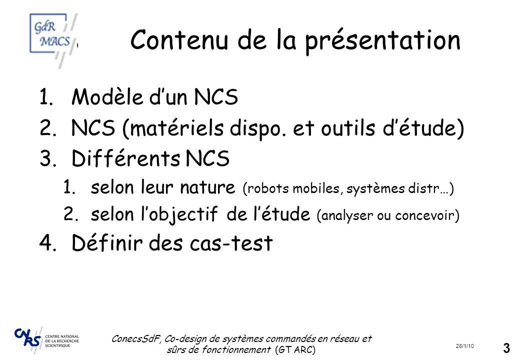 28/1/10 ConecsSdF, Co-design de systèmes commandés en réseau et sûrs de fonctionnement (GT ARC) 3 Contenu de la présentation 1.Modèle d'un NCS 2.NCS (