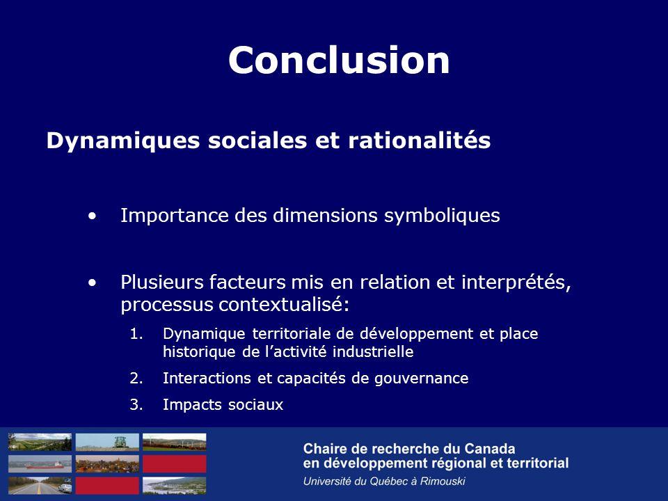 Dynamiques sociales et rationalités Importance des dimensions symboliques Plusieurs facteurs mis en relation et interprétés, processus contextualisé: