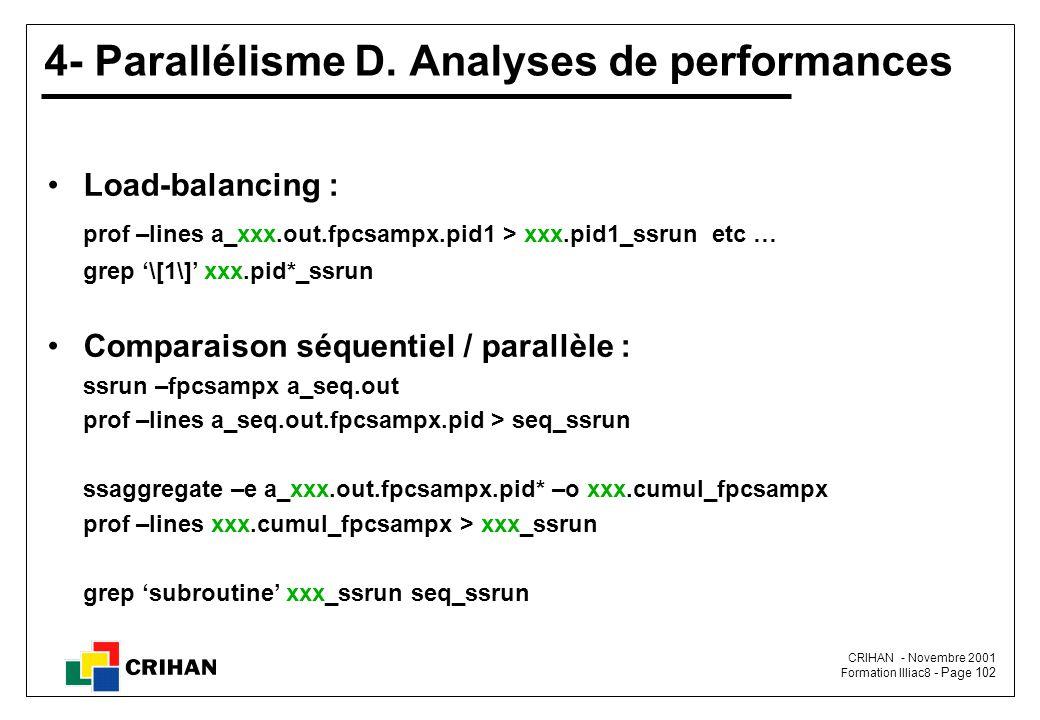 CRIHAN - Novembre 2001 Formation Illiac8 - Page 102 4- Parallélisme D.