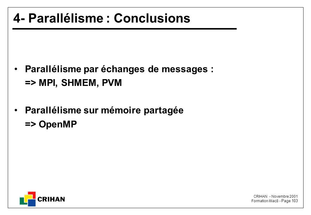 CRIHAN - Novembre 2001 Formation Illiac8 - Page 103 4- Parallélisme : Conclusions Parallélisme par échanges de messages : => MPI, SHMEM, PVM Parallélisme sur mémoire partagée => OpenMP