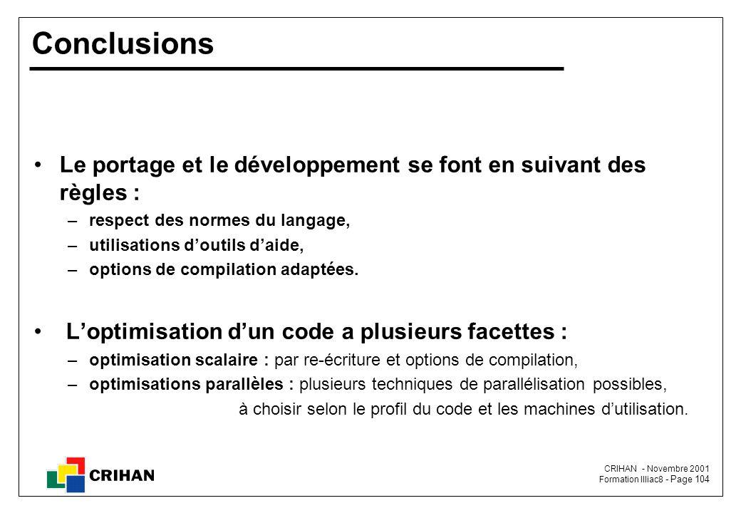 CRIHAN - Novembre 2001 Formation Illiac8 - Page 104 Conclusions Le portage et le développement se font en suivant des règles : –respect des normes du langage, –utilisations d'outils d'aide, –options de compilation adaptées.