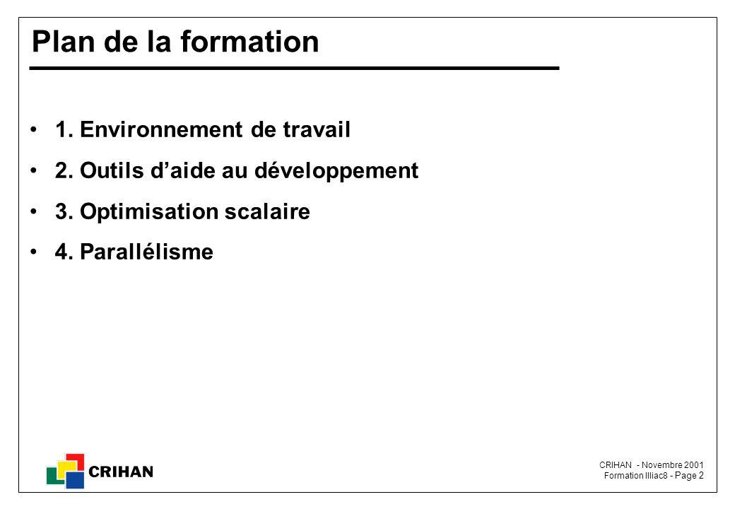 CRIHAN - Novembre 2001 Formation Illiac8 - Page 2 Plan de la formation 1.