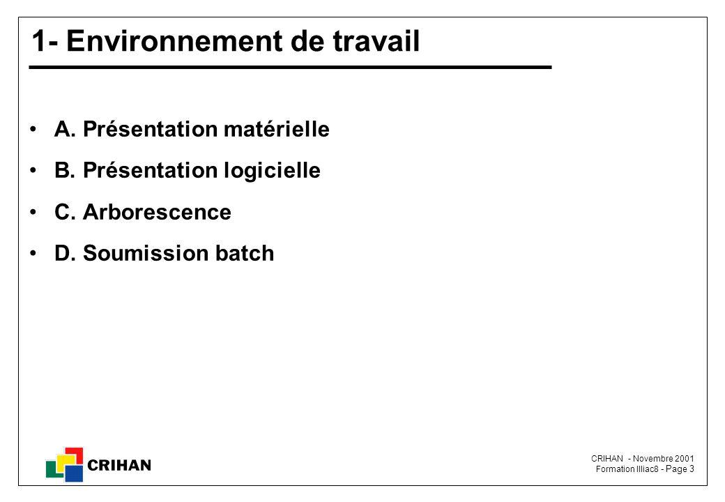 CRIHAN - Novembre 2001 Formation Illiac8 - Page 3 1- Environnement de travail A.
