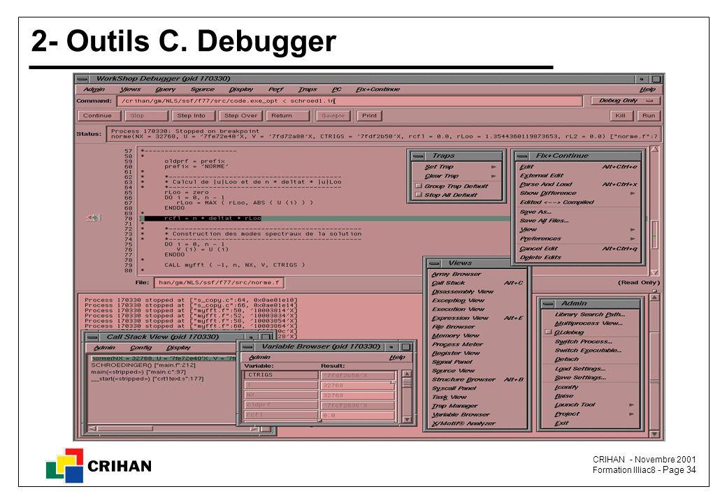 CRIHAN - Novembre 2001 Formation Illiac8 - Page 34 2- Outils C. Debugger