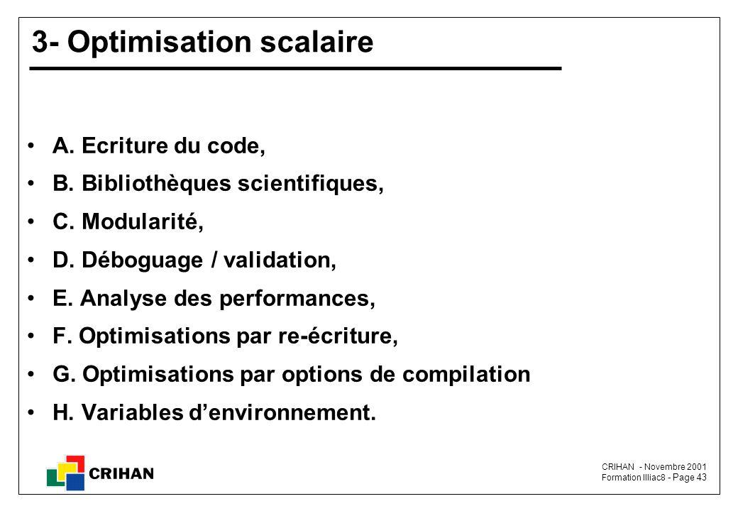 CRIHAN - Novembre 2001 Formation Illiac8 - Page 43 3- Optimisation scalaire A.