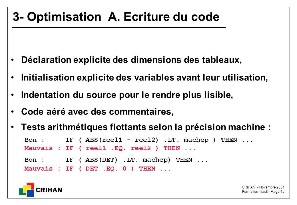 CRIHAN - Novembre 2001 Formation Illiac8 - Page 45 3- Optimisation A.