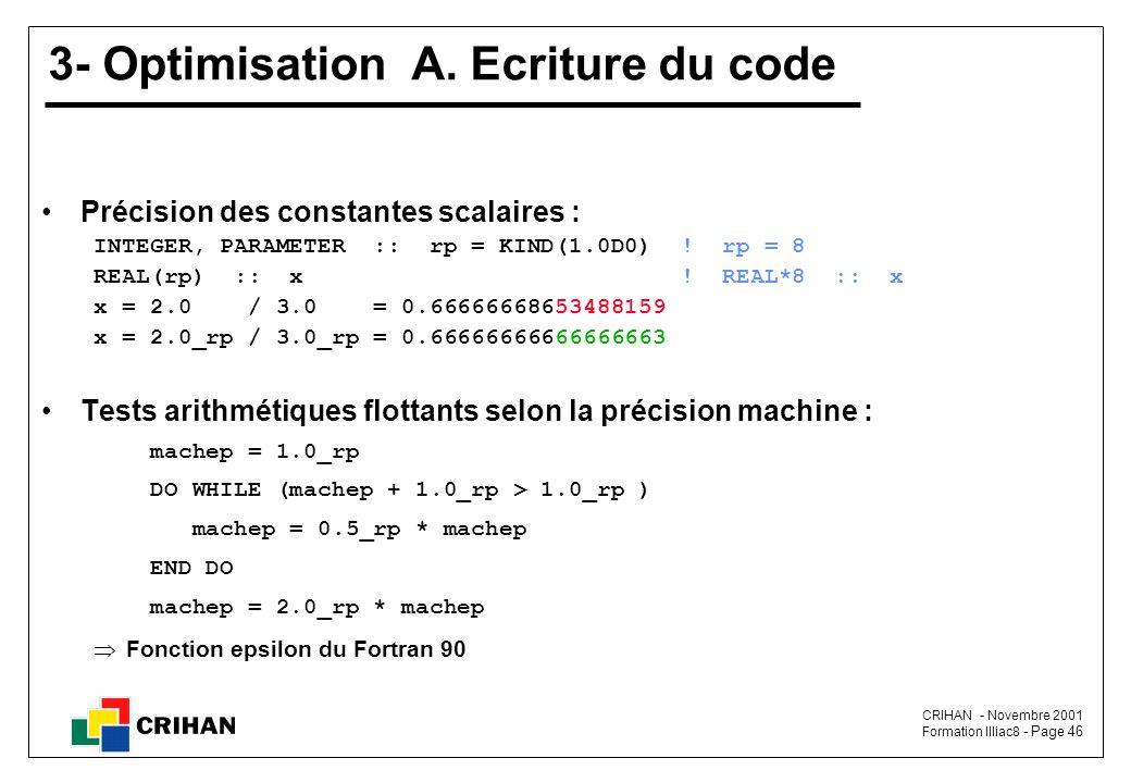 CRIHAN - Novembre 2001 Formation Illiac8 - Page 46 3- Optimisation A.