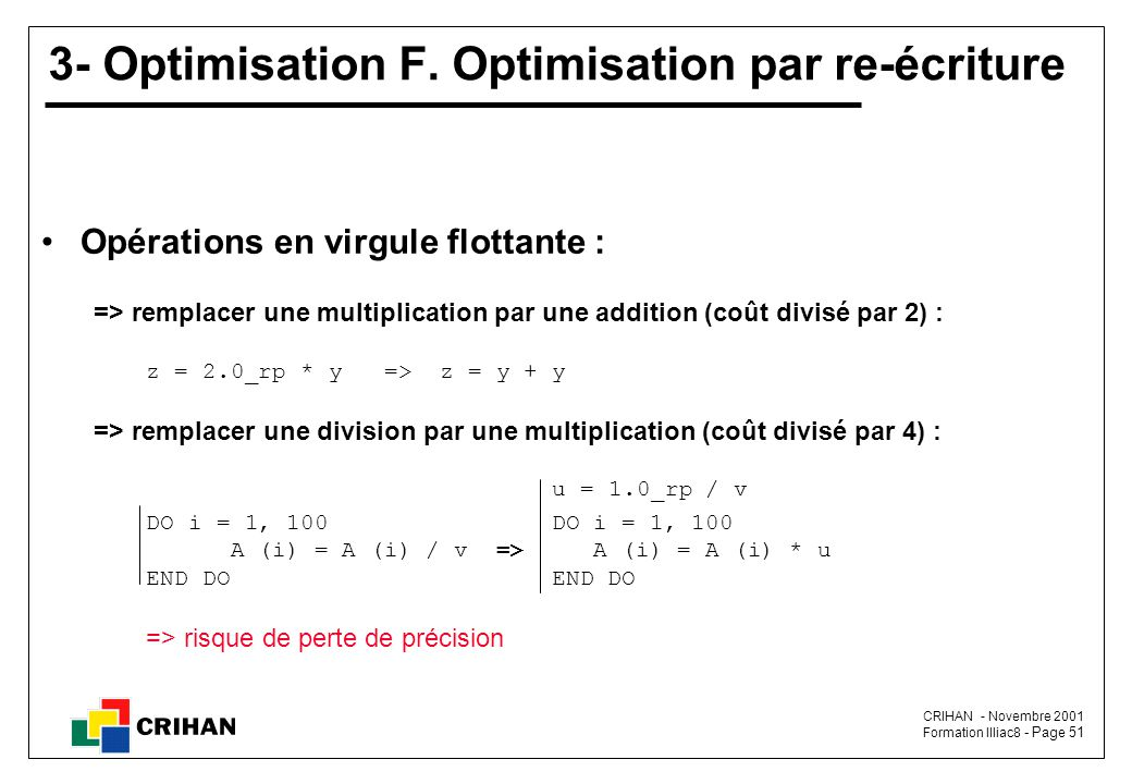CRIHAN - Novembre 2001 Formation Illiac8 - Page 51 3- Optimisation F.