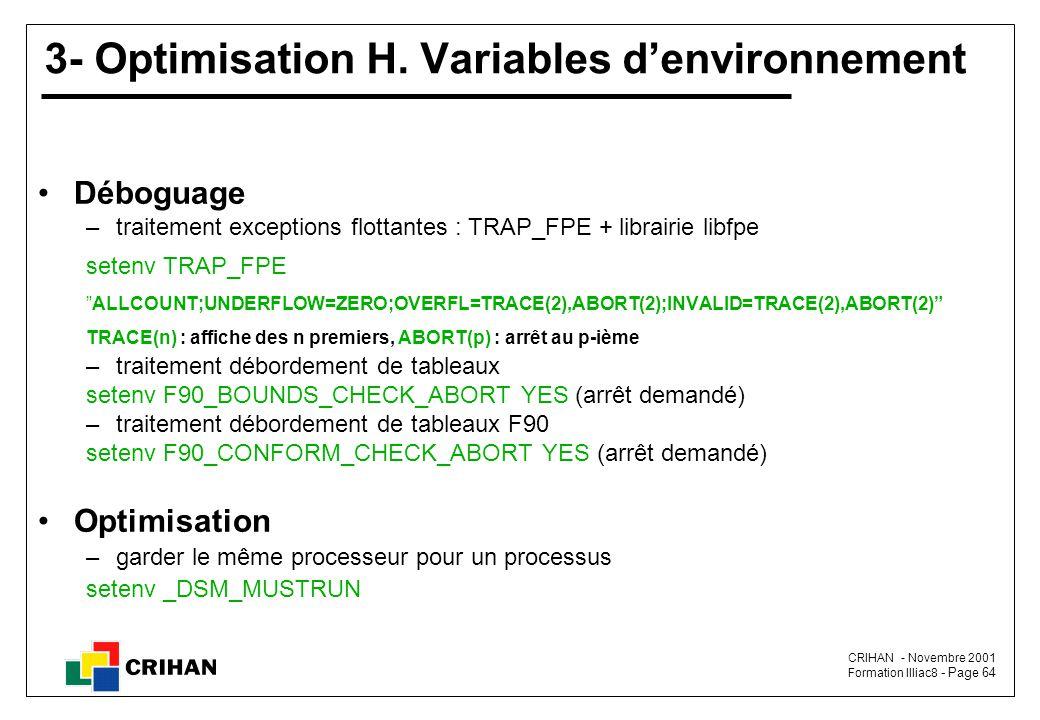 CRIHAN - Novembre 2001 Formation Illiac8 - Page 64 3- Optimisation H.