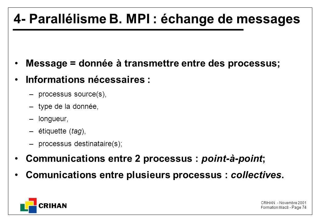 CRIHAN - Novembre 2001 Formation Illiac8 - Page 74 4- Parallélisme B.