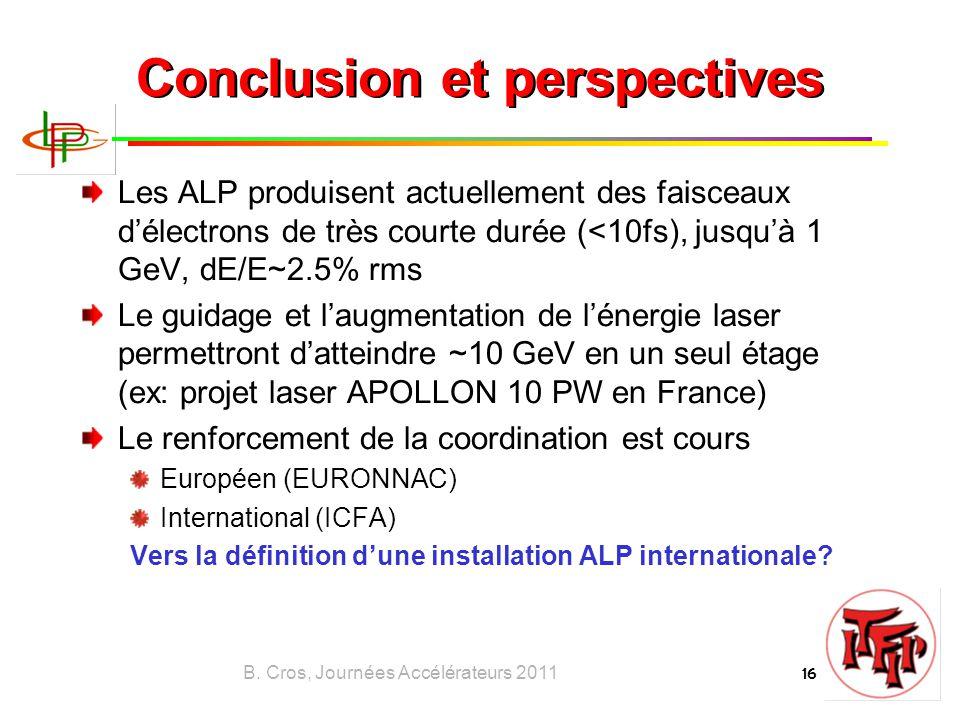 B. Cros, Journées Accélérateurs 2011 16 Conclusion et perspectives Les ALP produisent actuellement des faisceaux d'électrons de très courte durée (<10