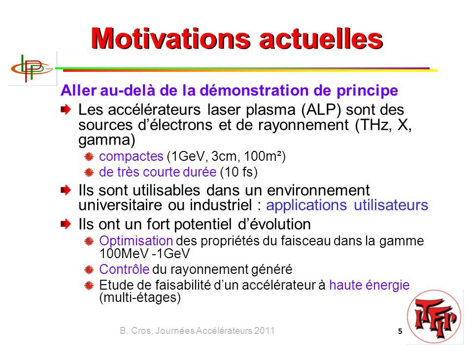 B. Cros, Journées Accélérateurs 2011 5 Motivations actuelles Aller au-delà de la démonstration de principe Les accélérateurs laser plasma (ALP) sont d