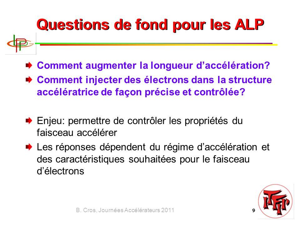 B. Cros, Journées Accélérateurs 2011 9 Questions de fond pour les ALP Comment augmenter la longueur d'accélération? Comment injecter des électrons dan