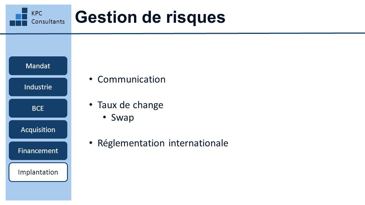 Gestion de risques KPC Consultants Mandat Industrie BCE Acquisition Financement Implantation Communication Taux de change Swap Réglementation internat