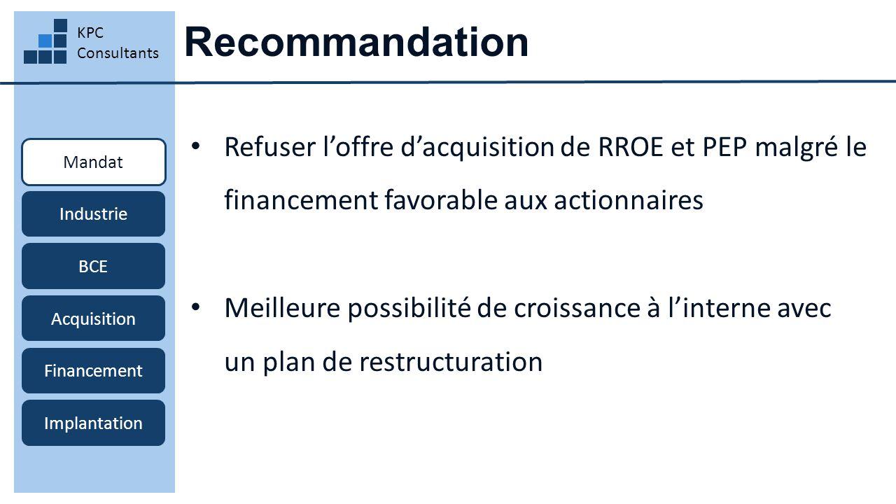 Recommandation KPC Consultants Mandat Industrie BCE Acquisition Financement Implantation Refuser l'offre d'acquisition de RROE et PEP malgré le financement favorable aux actionnaires Meilleure possibilité de croissance à l'interne avec un plan de restructuration