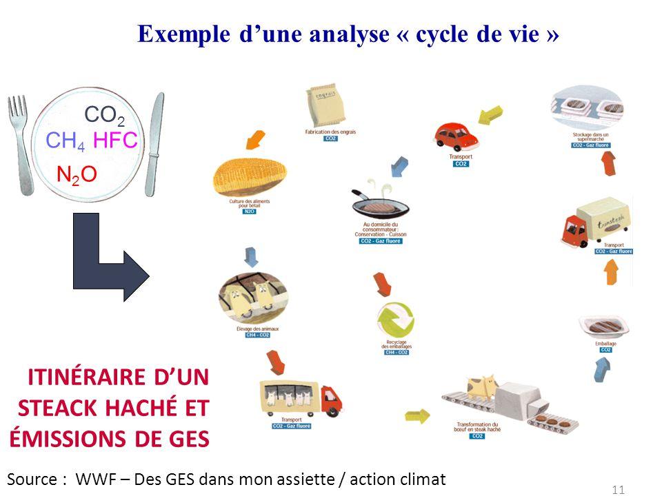Source : WWF – Des GES dans mon assiette / action climat I CO 2 CH 4 N2ON2O HFC ITINÉRAIRE D'UN STEACK HACHÉ ET ÉMISSIONS DE GES 11 Exemple d'une anal