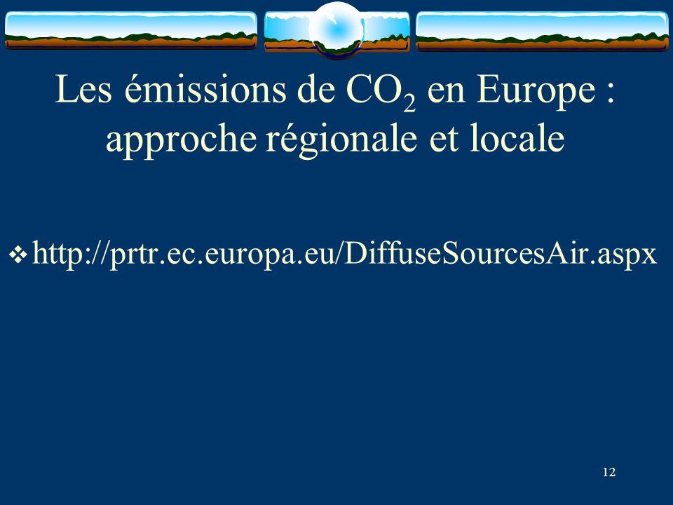 Les émissions de CO 2 en Europe : approche régionale et locale  http:// prtr.ec.europa.eu/DiffuseSourcesAir.aspx 12