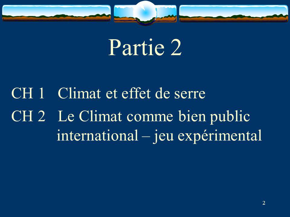 2 Partie 2 CH 1 Climat et effet de serre CH 2 Le Climat comme bien public international – jeu expérimental