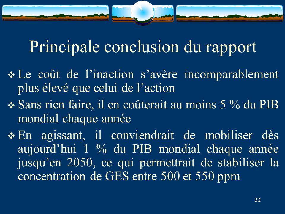32 Principale conclusion du rapport  Le coût de l'inaction s'avère incomparablement plus élevé que celui de l'action  Sans rien faire, il en coûtera